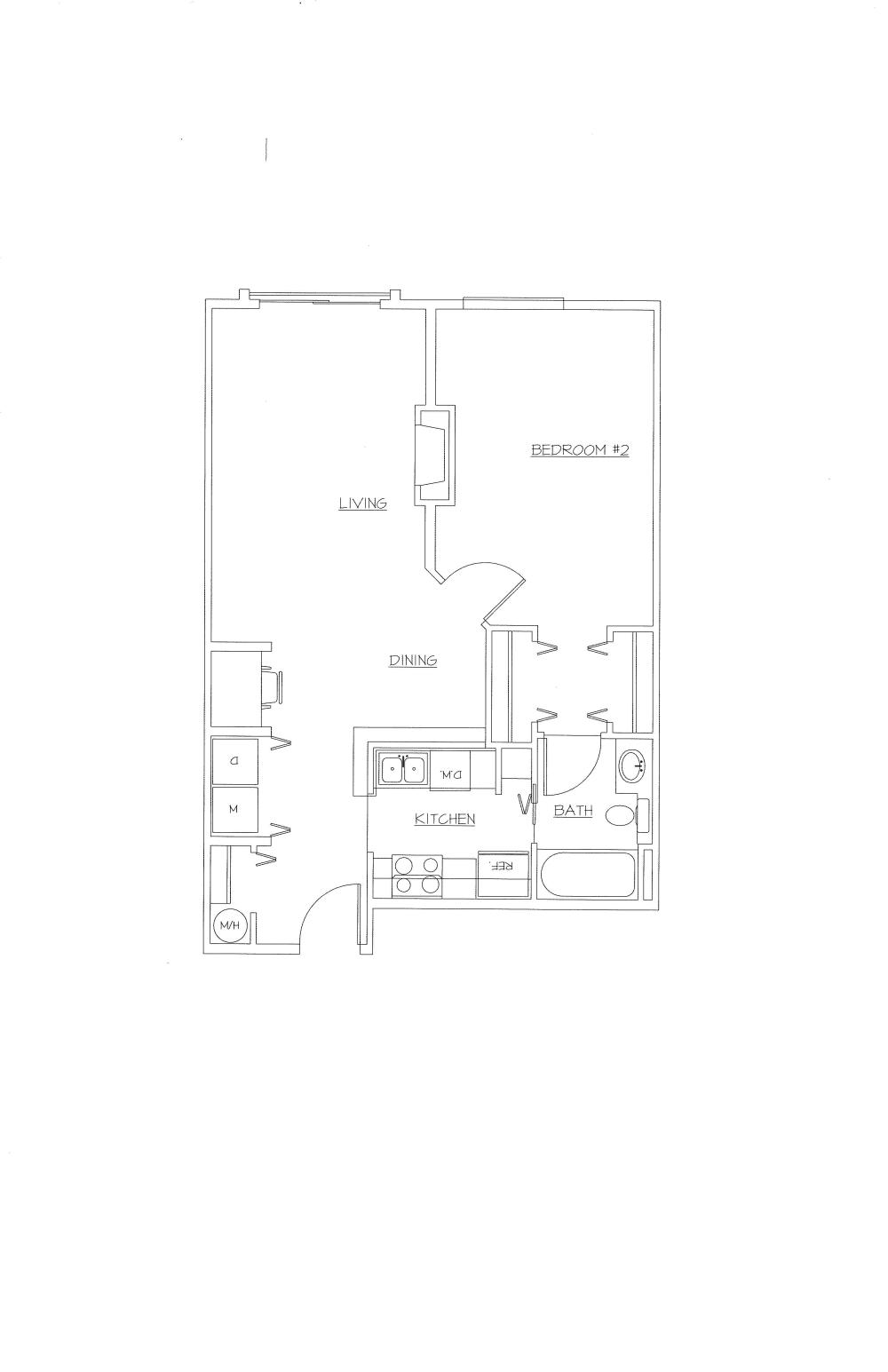 Unit E (1 Bed, 1 Bath)