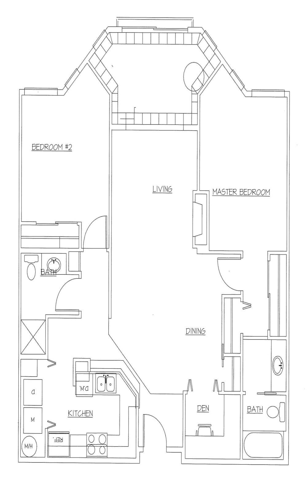 Unit G 2 Bed, 2 Bath