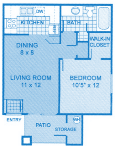 Camino Seco Village 1A Floor Plan layout. Living area and kitchen on the bottom, bedroom and living room on the top.