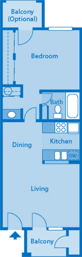 The Foothills Apartments 1B floor plan image depicting layout of home.