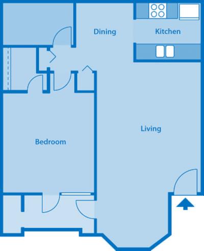 The Arboretum 1B Floor Plan Image depicting layout of home.