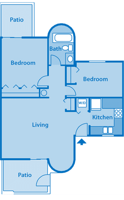 Camino Seco Village 1A Floor Plan layout. Living room, kitchen in the bottom, bedrooms and bathroom on the top.