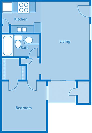 Rio Vista One Bedroom B Apartment Layout image.
