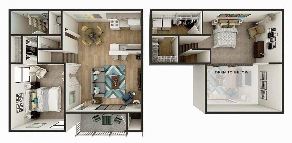 2 Bedroom 1 Bath Floor Plan Image - The Venice