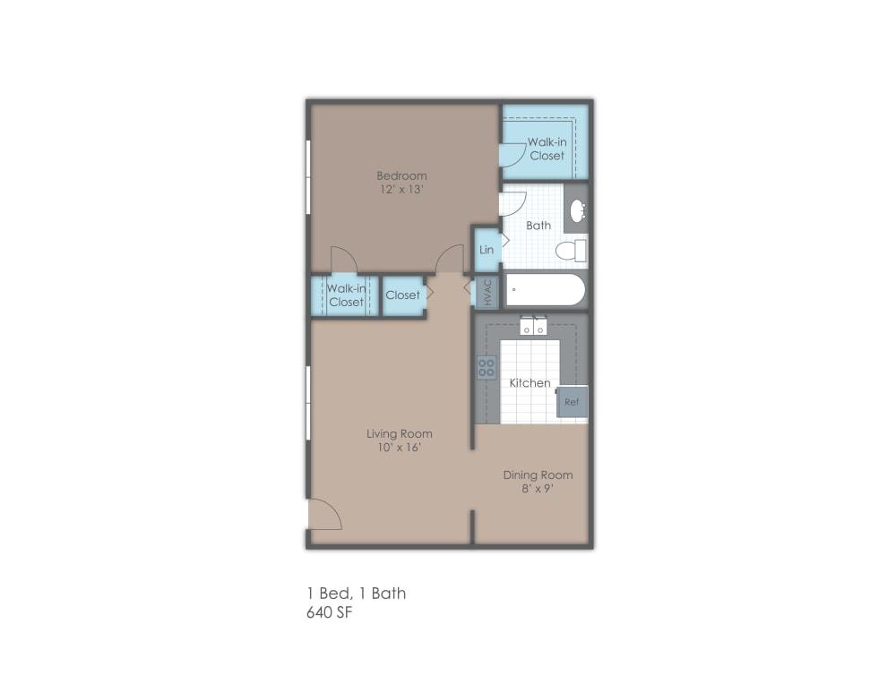 One bedroom one bathroom two dimensional floor plan.