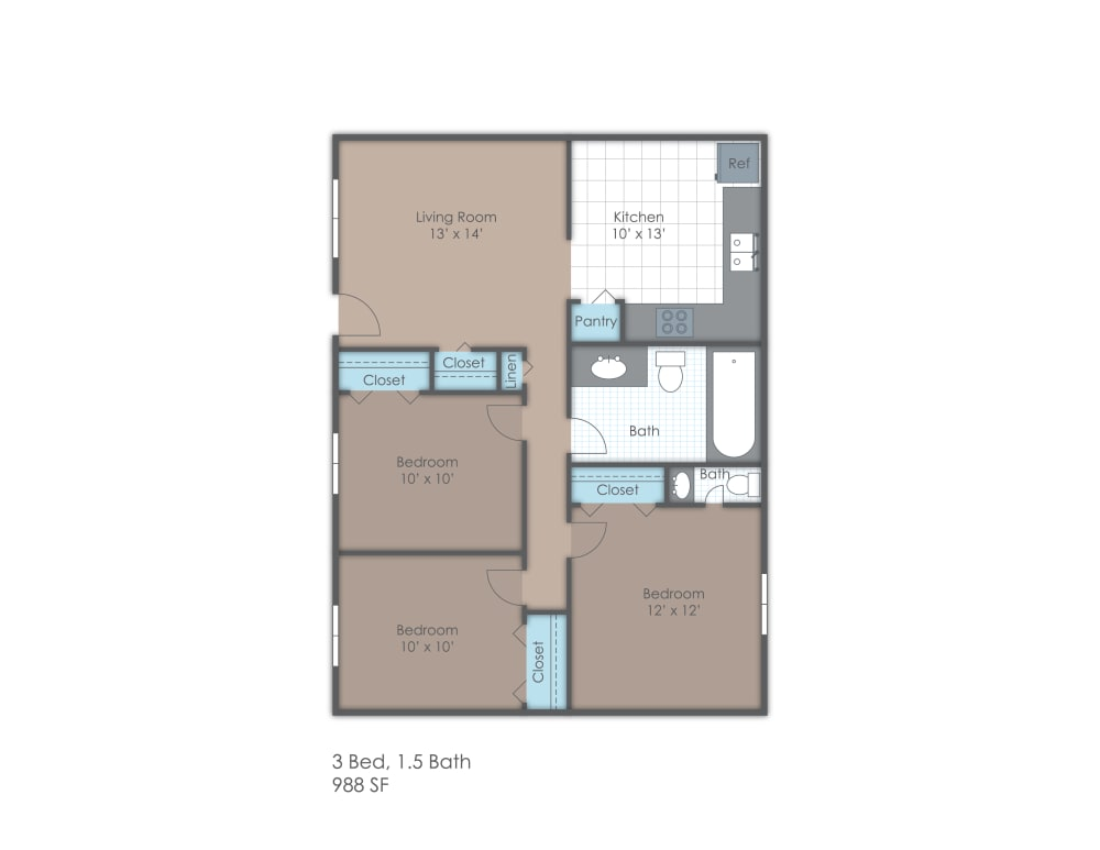 Three bedroom one and a half bath two dimensional floor plan.