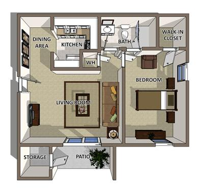 The Georgetown floor plan at Summerville Station Apartments in Summerville