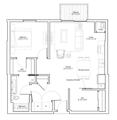 Vintage on Selby Apartments 1 Bedroom & Den Apartment Layout