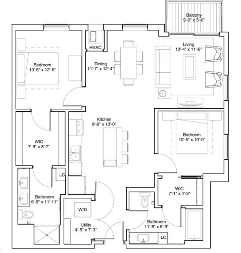 2 Bedroom Apartment Floor Plan Vintage on Selby Apartments