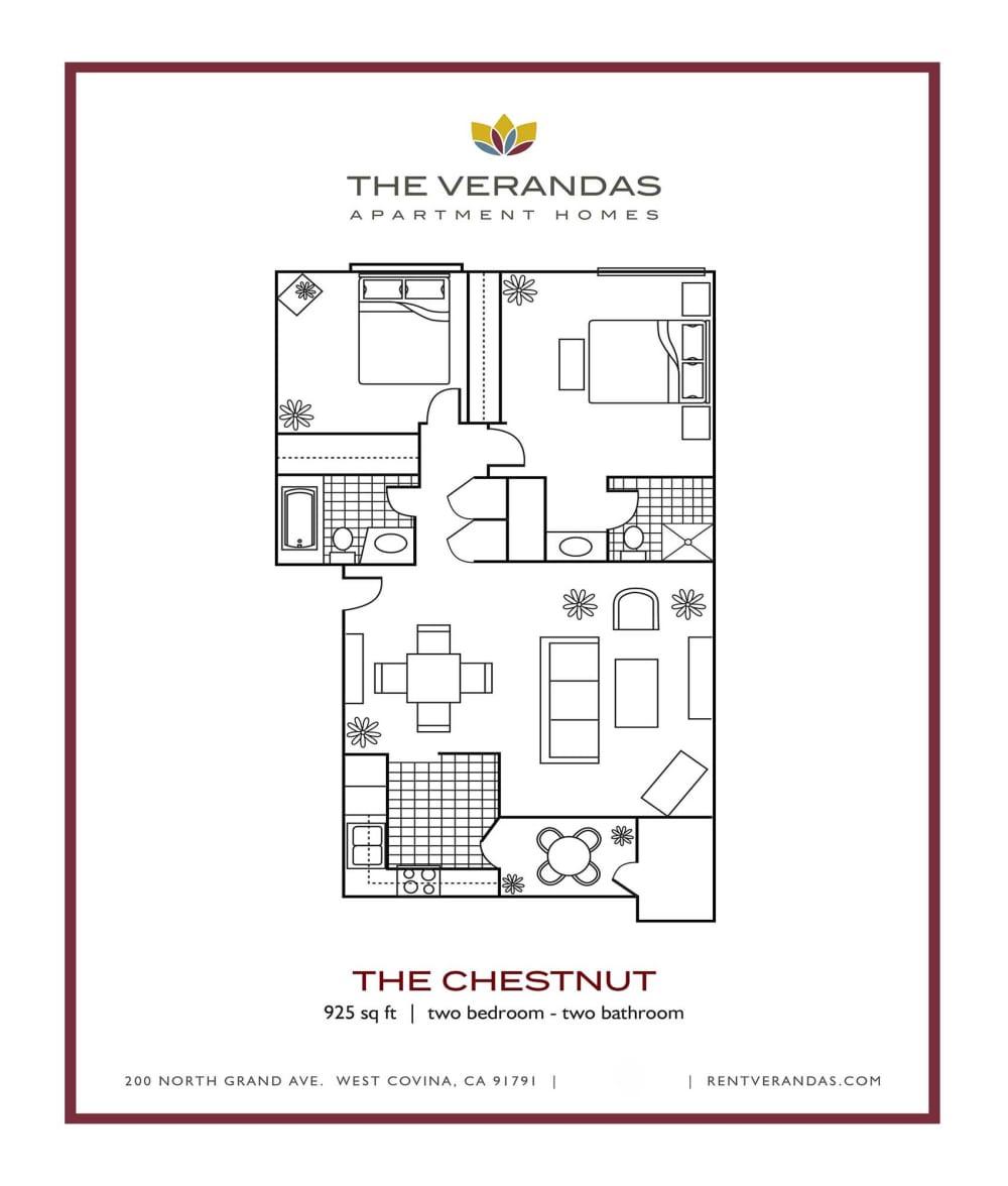 2 Bed 2 Bath Floor plan at The Verandas Apartment Homes, 200 N. Grand Avenue, 91791