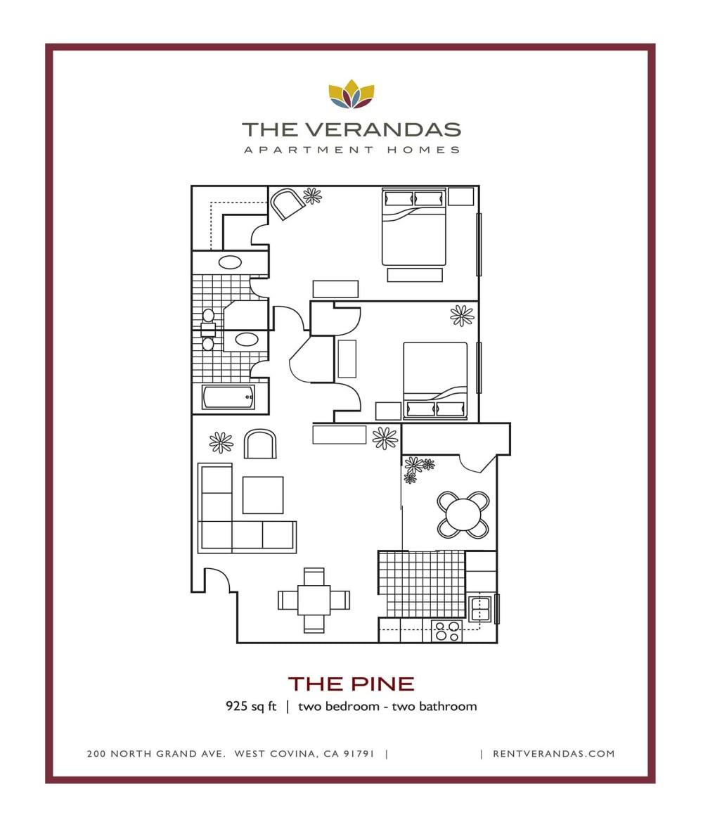 2 Bed 2 Bath Floor plan at The Verandas Apartment Homes, 200 N. Grand Avenue, West Covina, CA