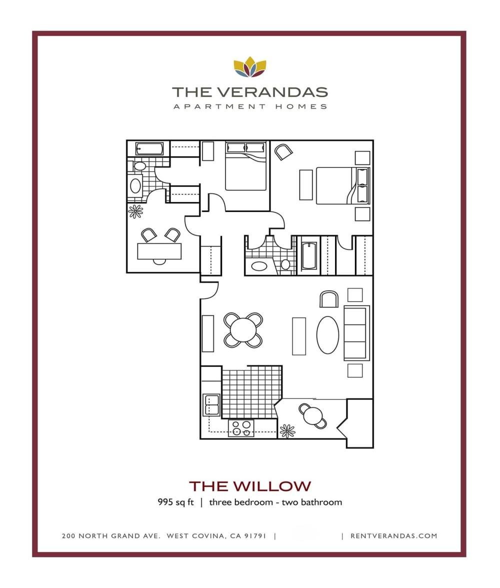 3 Bed 2 Bath Floor plan at The Verandas Apartment Homes, West Covina, CA