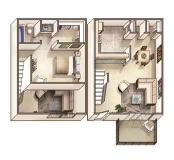 The Lakehurst Floor Plan at Woodcreek Apartments, North Carolina, 27511
