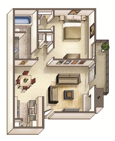 The Hampton Floor Plan at Woodcreek Apartments, Cary, 27511