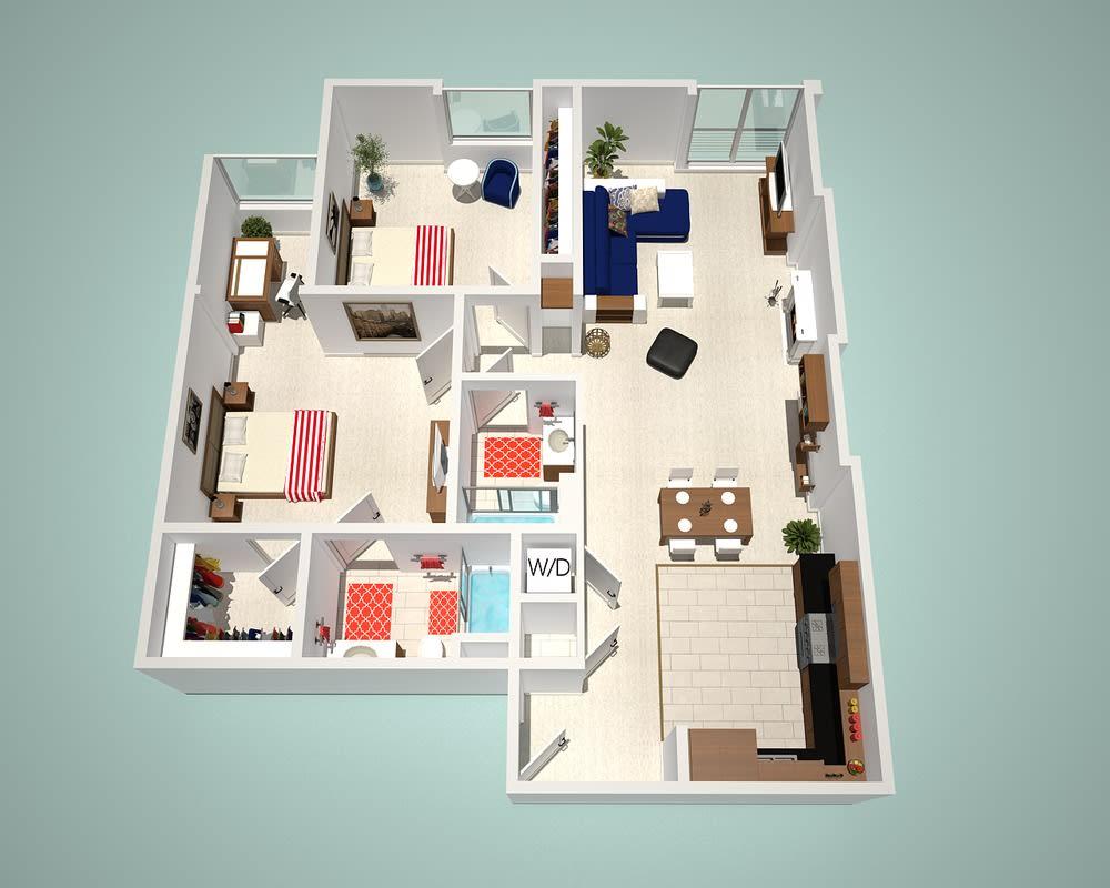 2 Bed - 2 Bath D Floor Plan at The Social, North Hollywood, CA