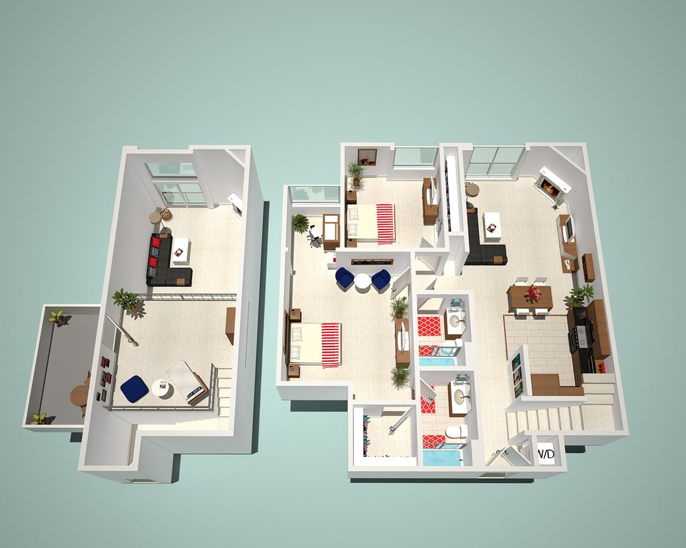 2 Bed - 2 Bath G1 - Penthouse Floor Plan at The Social, North Hollywood, CA