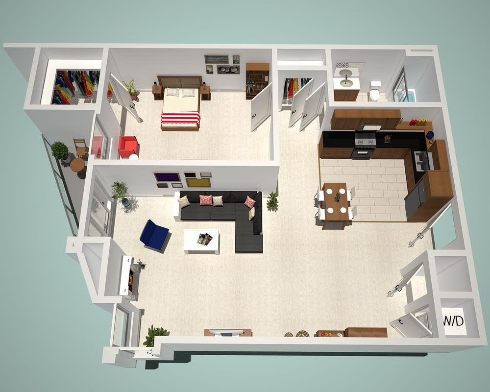1 Bed - 1 Bath J Floor Plan at The Social, California