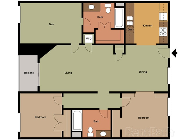 2 Bed - 2 Bath Marbella Den Floor Plan at Le Blanc Apartment Homes, California