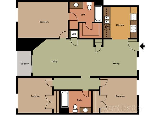 3 Bed - 2 Bath Provence Floor Plan at Le Blanc Apartment Homes, Canoga Park, 91304