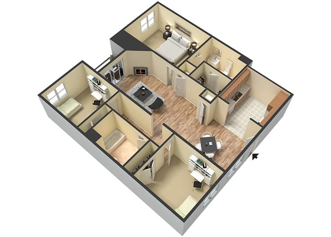 3 Bed - 2 Bath Provence Floor Plan at Le Blanc Apartment Homes, Canoga Park, CA