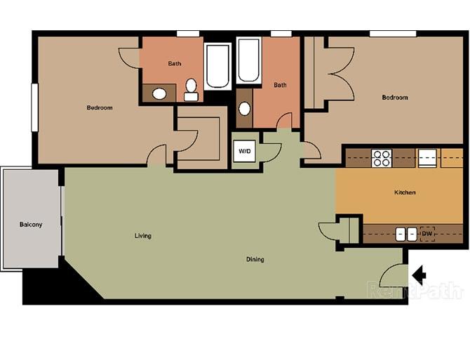 2 Bed - 2 Bath Santorini Floor Plan at Le Blanc Apartment Homes, California