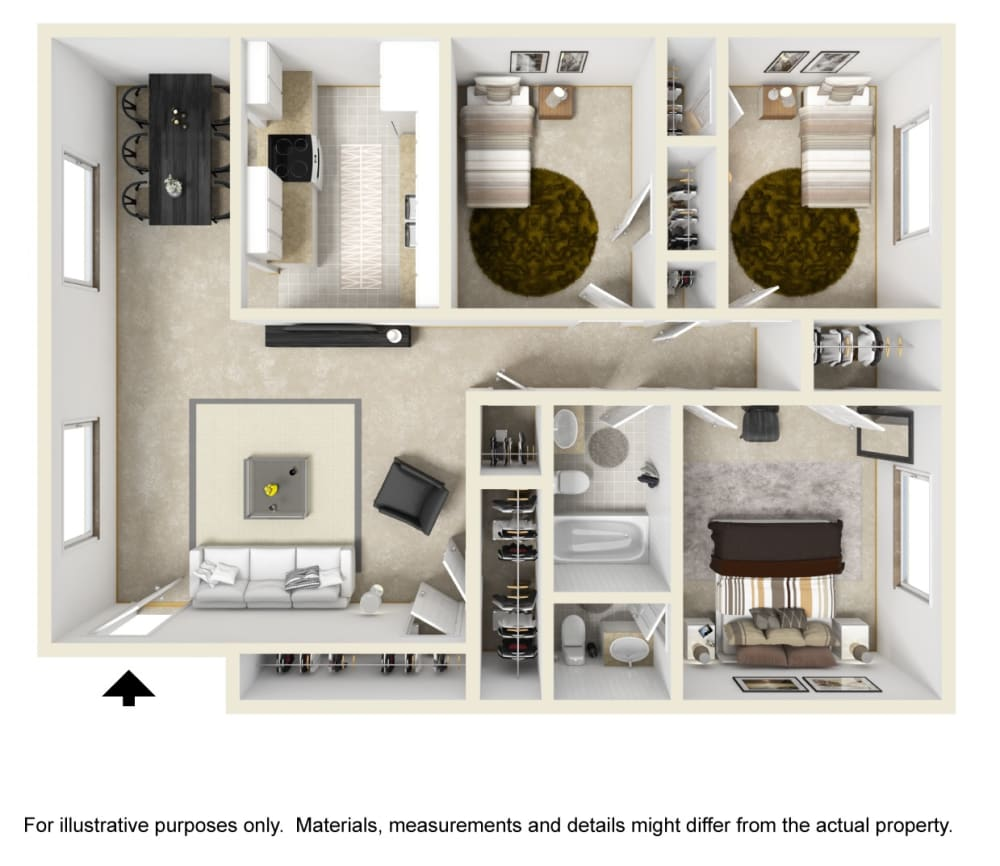 Three Bed One Bath Floor Plan at Country Club Apartments, Virginia, 23185