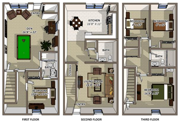 The Colonial floor plans at Hyde Park Townhomes and Apartments in Chester VA
