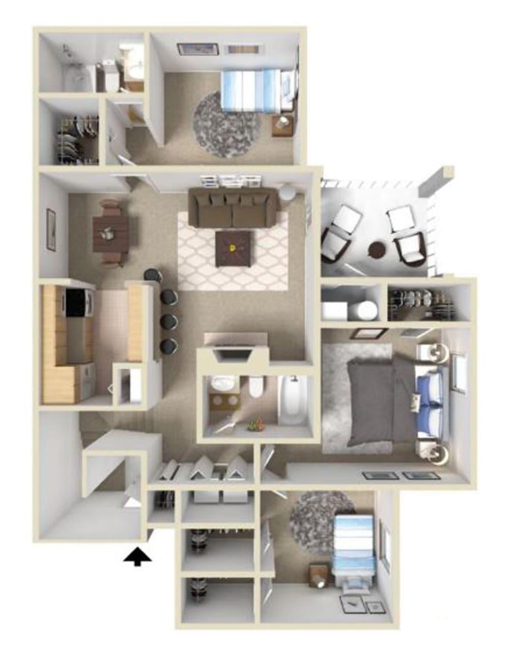 Westover II Floor Plan at Ashton Creek Apartments in Chester VA