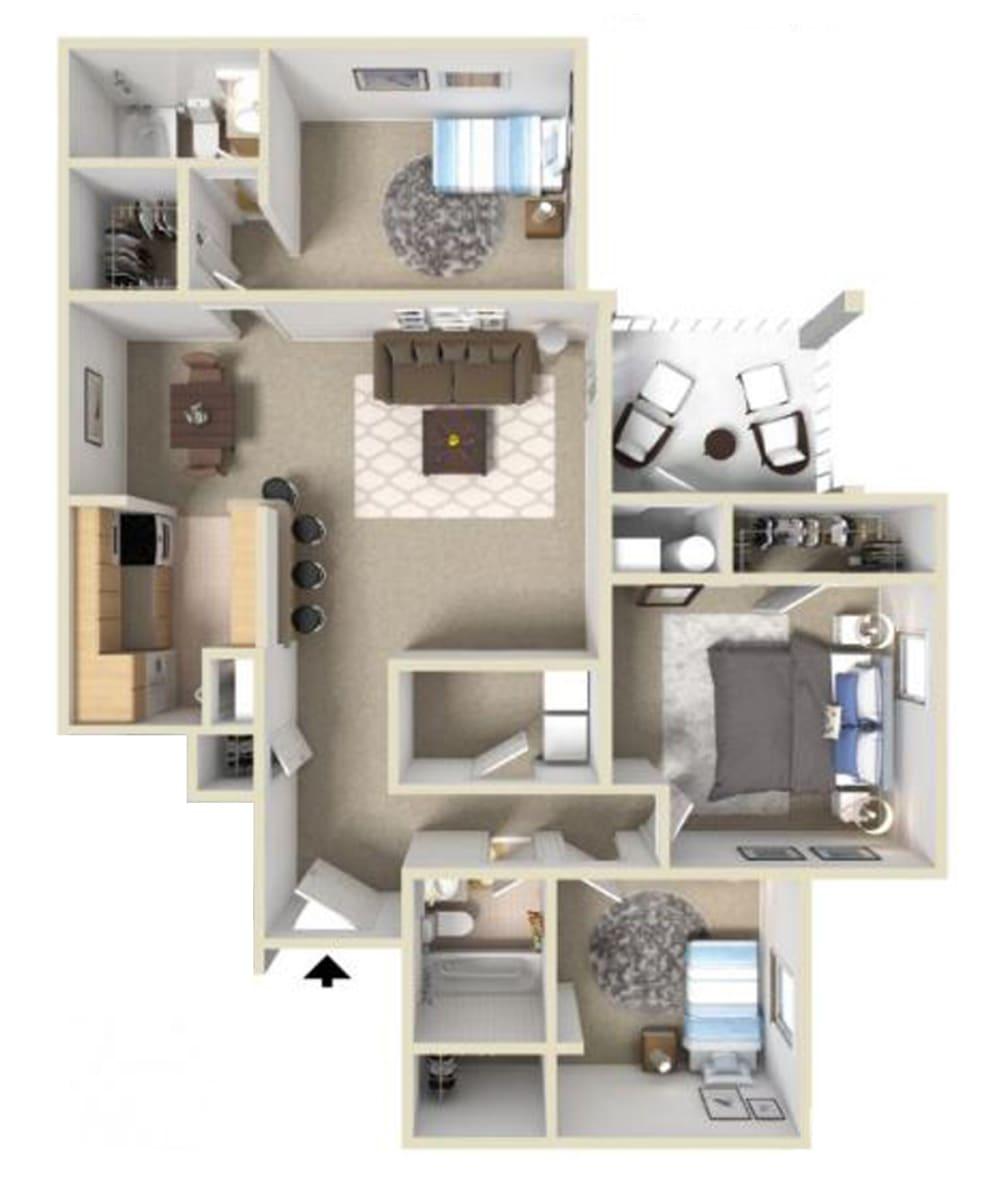 Westover I Floor Plan at Ashton Creek Apartments in Chester VA