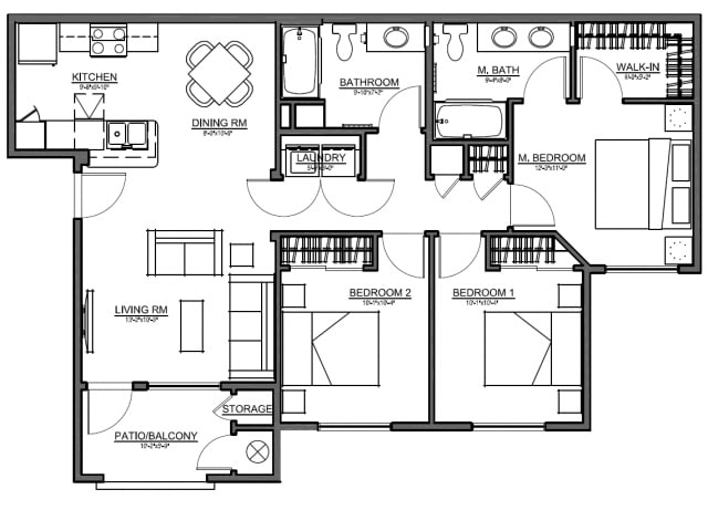 Boulder Pointe 3 Bedroom floor plan, 1,123 square