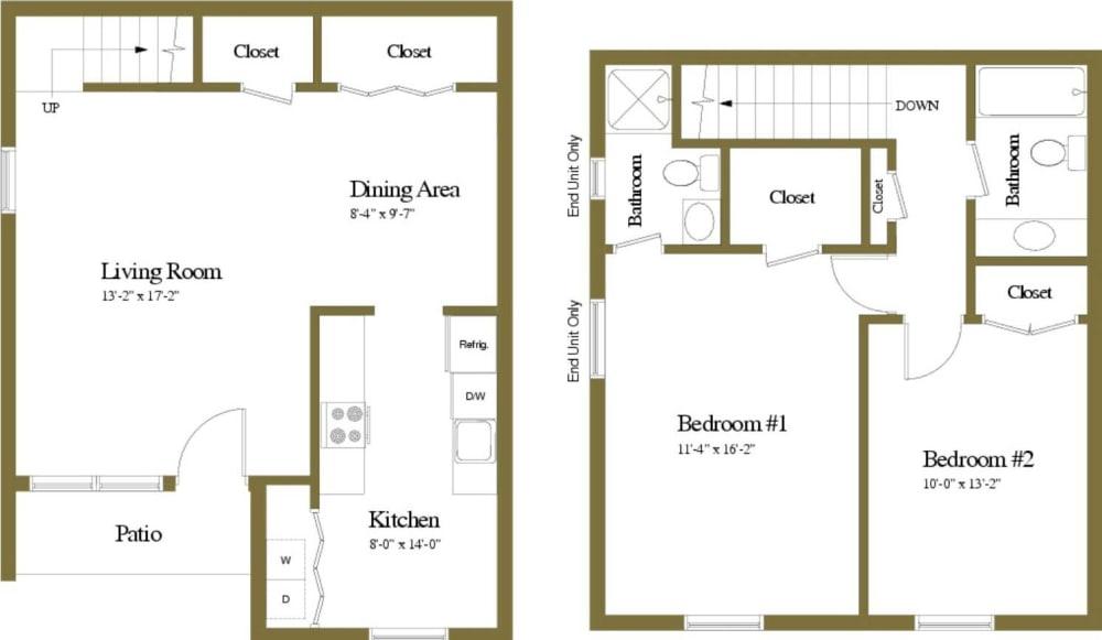 2 Bedroom 2 Bathroom Chapel Valley Townhome Floorplan