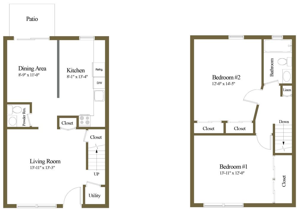 Colony Hill 2 Bedroom 1.5 Bathroom Townhome Floorplan