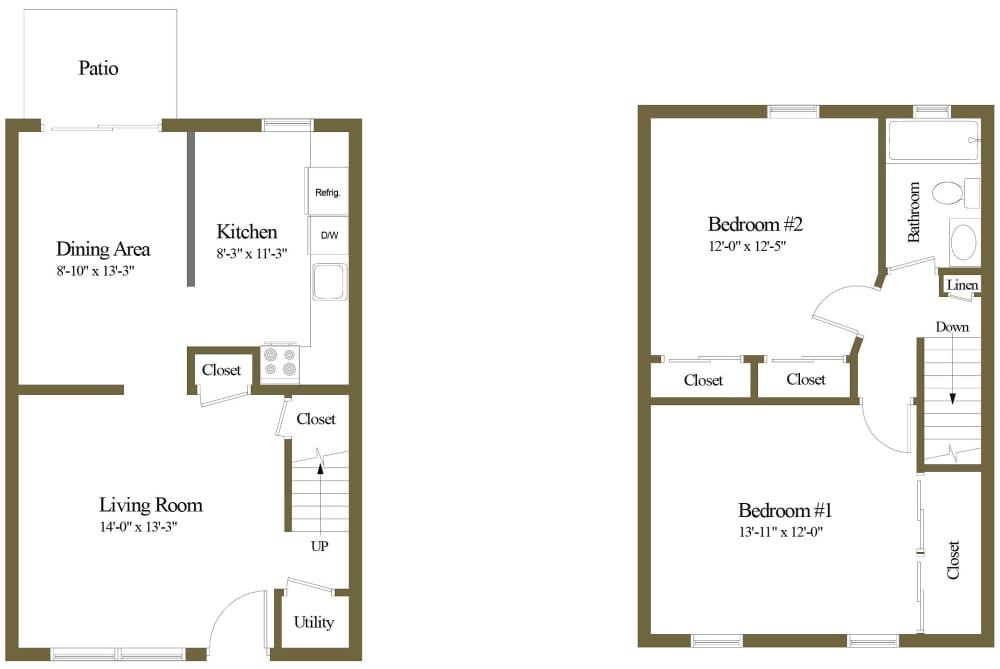Colony Hill 1 Bedroom 1 Bathroom Townhome Floorplan