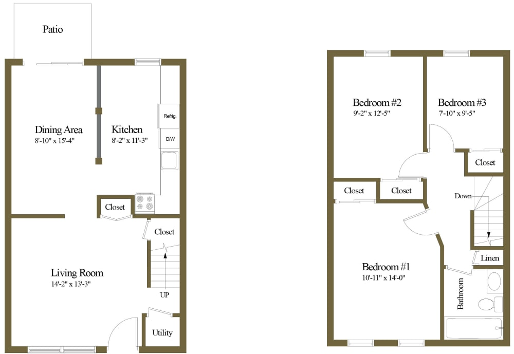 Colony Hill 3 Bedroom 1 Bathroom Townhome Floorplan