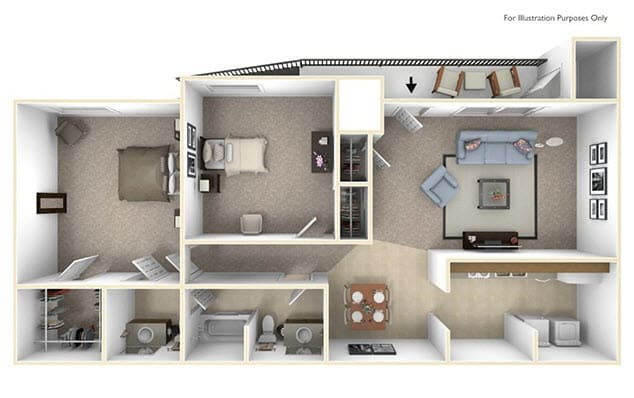 The Cedar Floor Plan at Cary Pines Apartments and Townhomes*, Cary, NC