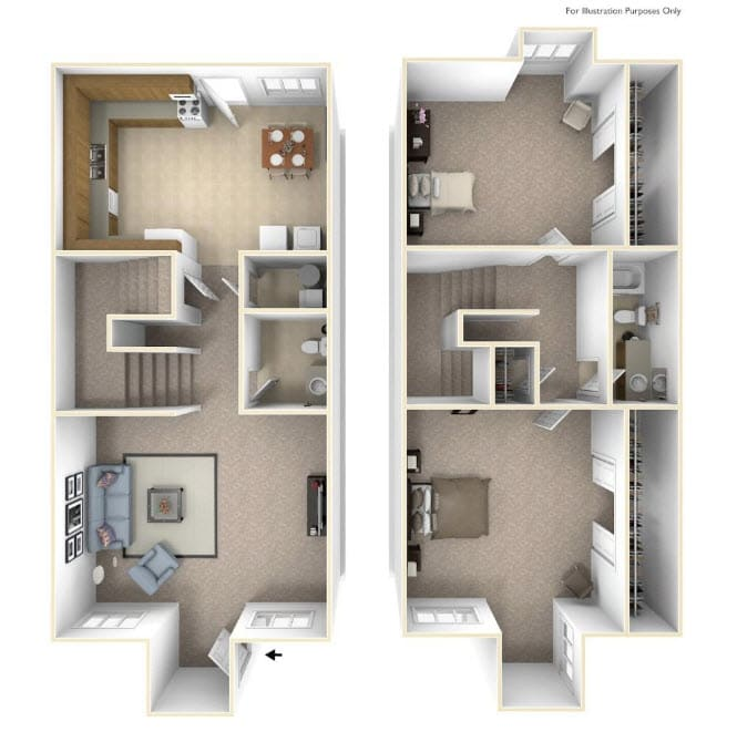 The Oak Floor Plan at Cary Pines Apartments and Townhomes*, Cary