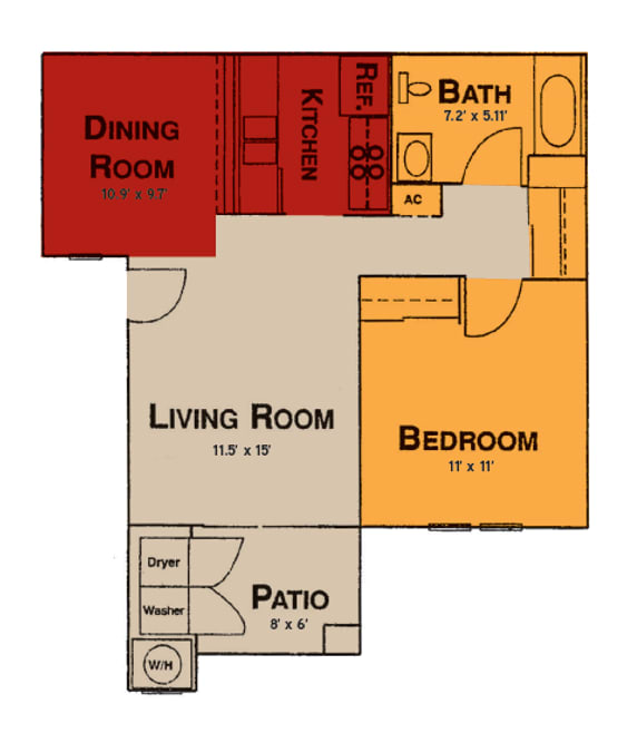 1x1 Floor Plan at Prelude at the Park, in Henderson, NV