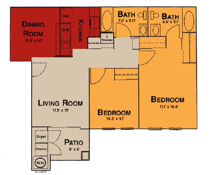2x2 Floor Plan at Prelude at the Park, Henderson, Nevada