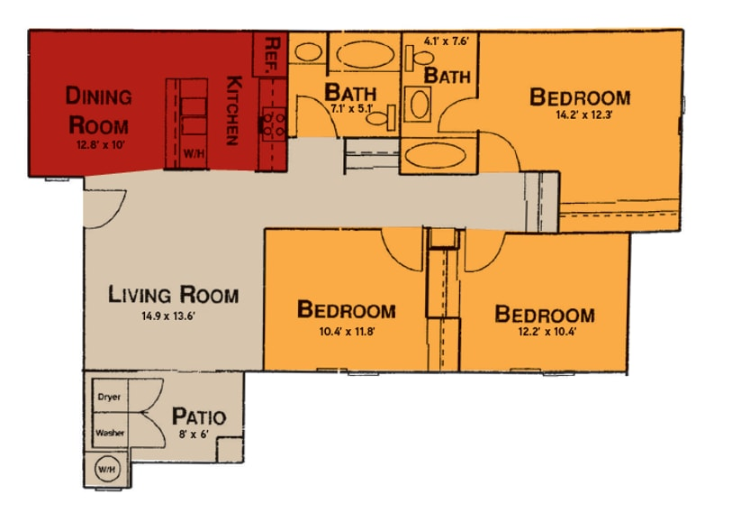 3x2 Floor Plan at Prelude at the Park, 501 East Lake Mead Parkway