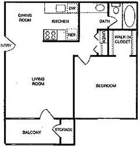 Riverstone one bedroom apartment 2D floor plan