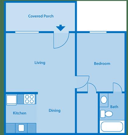 Tanglewood One Bedroom Small Floor Plan
