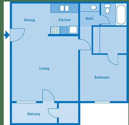 Tanglewood One Bedroom Medium Floor Plan