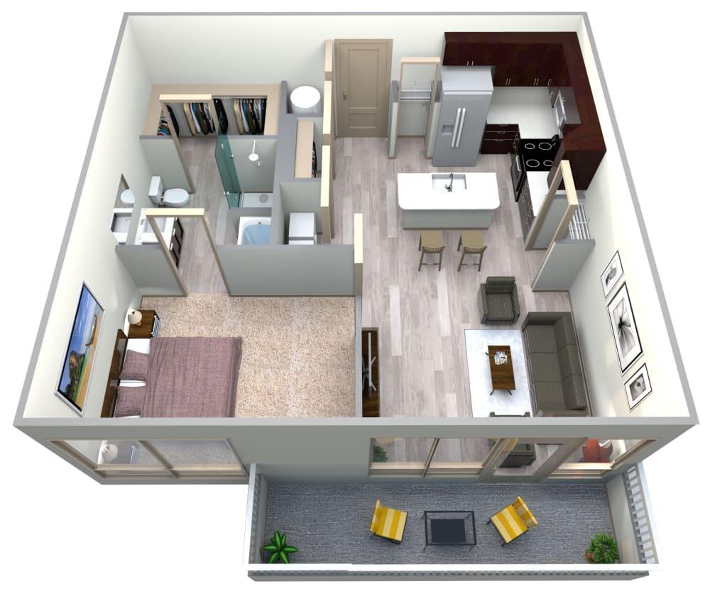 Aqua Floor Plan at Azure Houston Apartments, Houston, TX, 77007