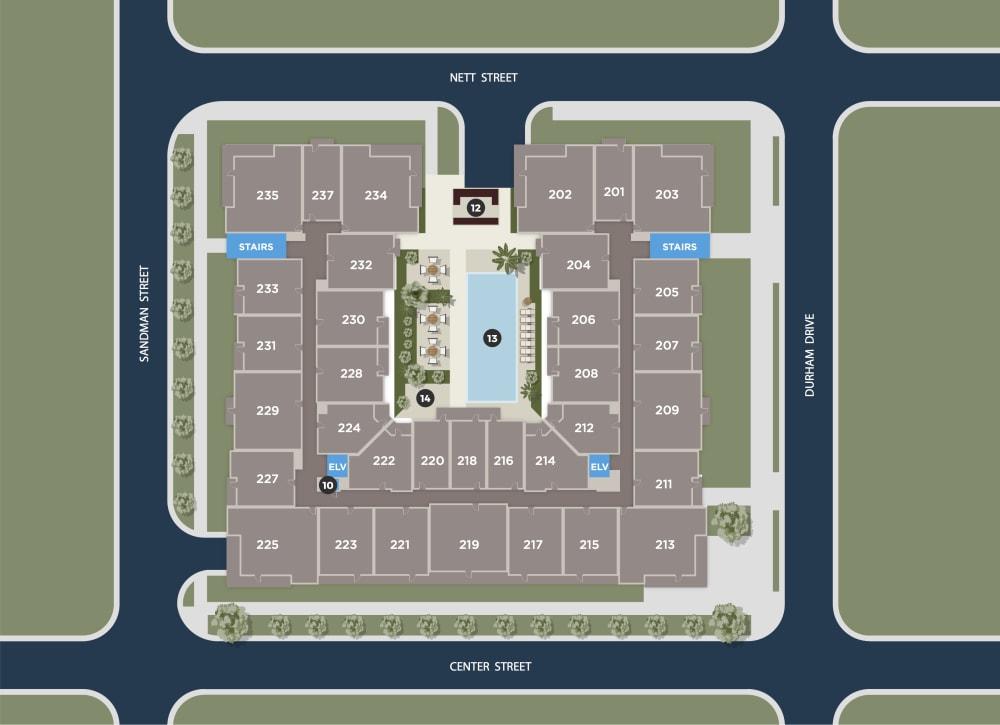 Cerulean Floor Plan at Azure Houston Apartments, Houston, TX, 77007