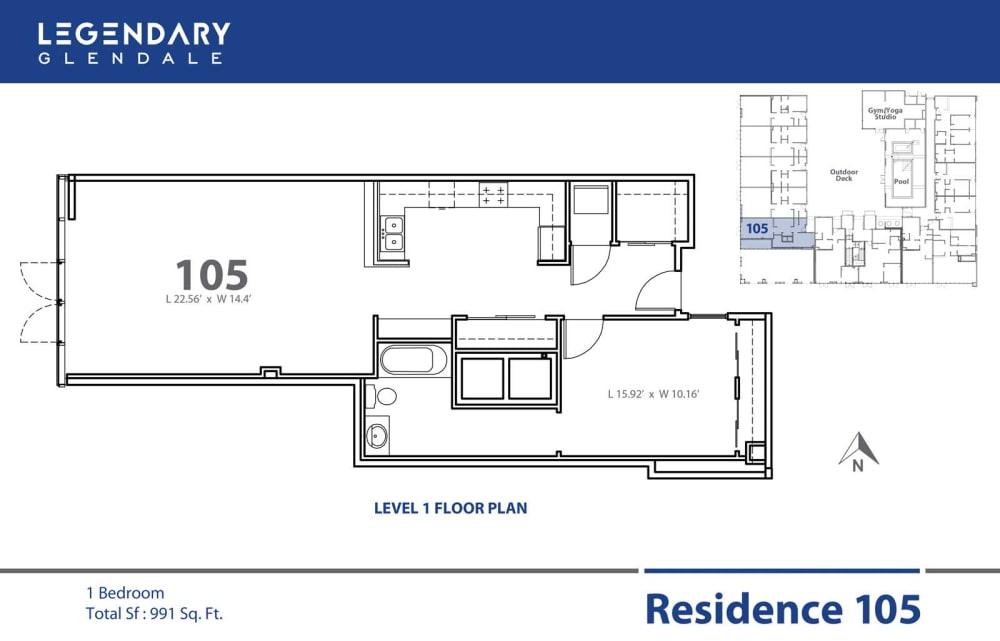 Floor Plan 105 in Legendary Glendale, Modern Apartments in Glendale, 300 N Central Ave