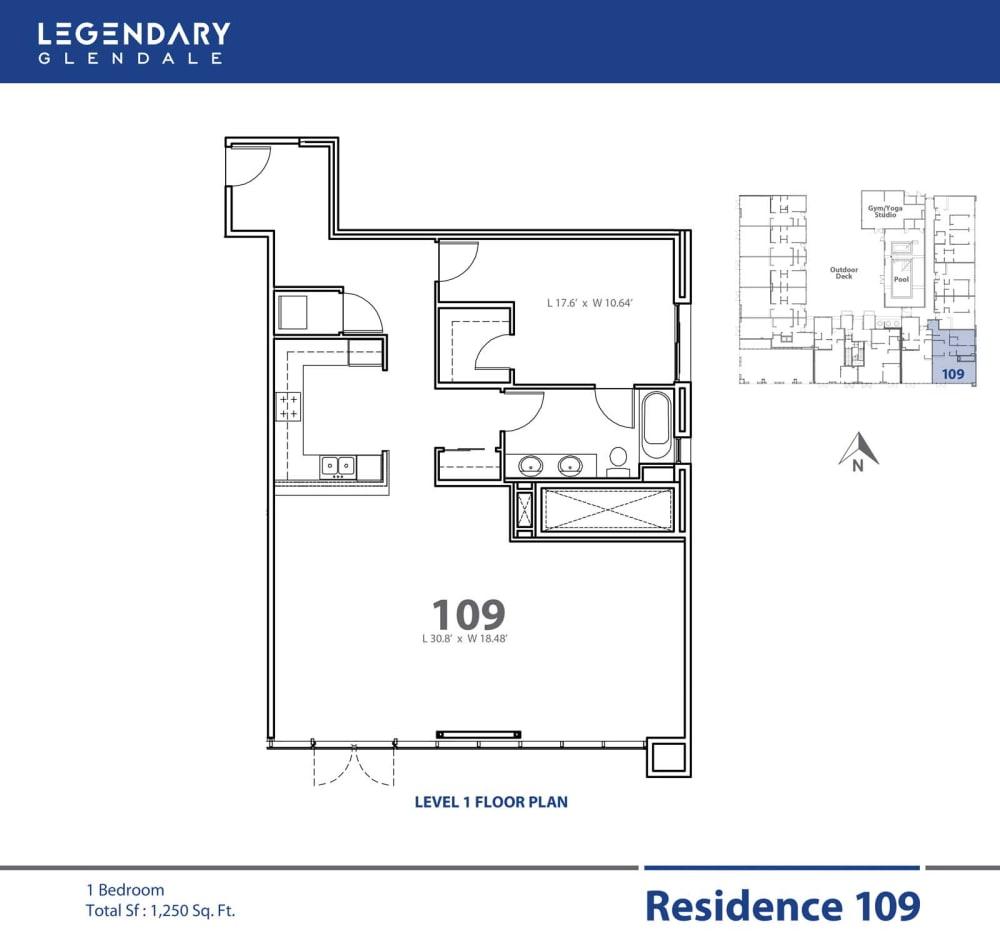 Legendary Glendale Floor Plan 109 at Apartments in 91203