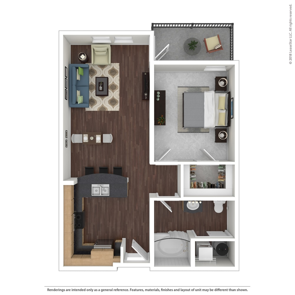 A1 with furniture Floor Plan at 45 Madison Apartments, Missouri, 64111