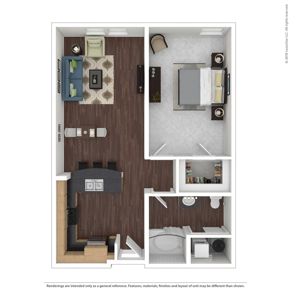 A2 with furniture Floor Plan at 45 Madison Apartments, Kansas City, MO