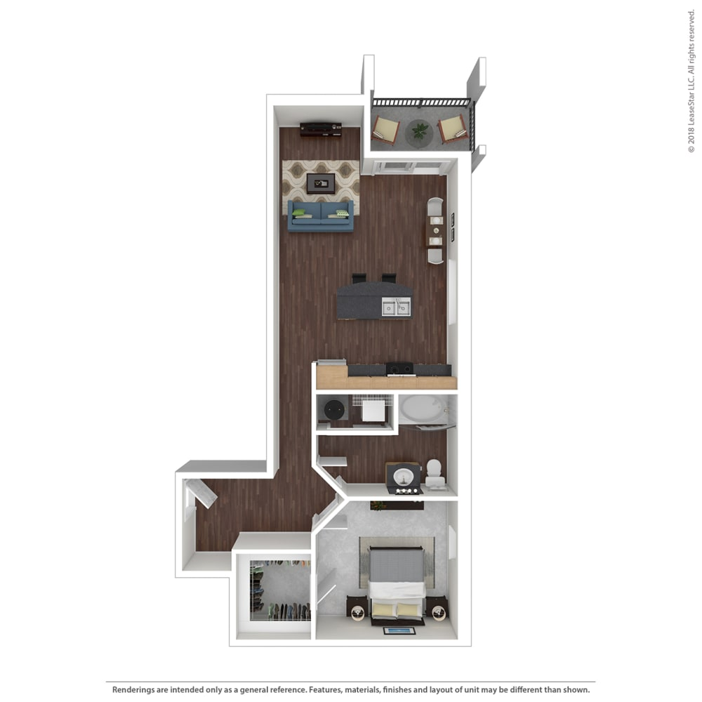 A3 with furniture Floor Plan at 45 Madison Apartments, Kansas City, MO, 64111