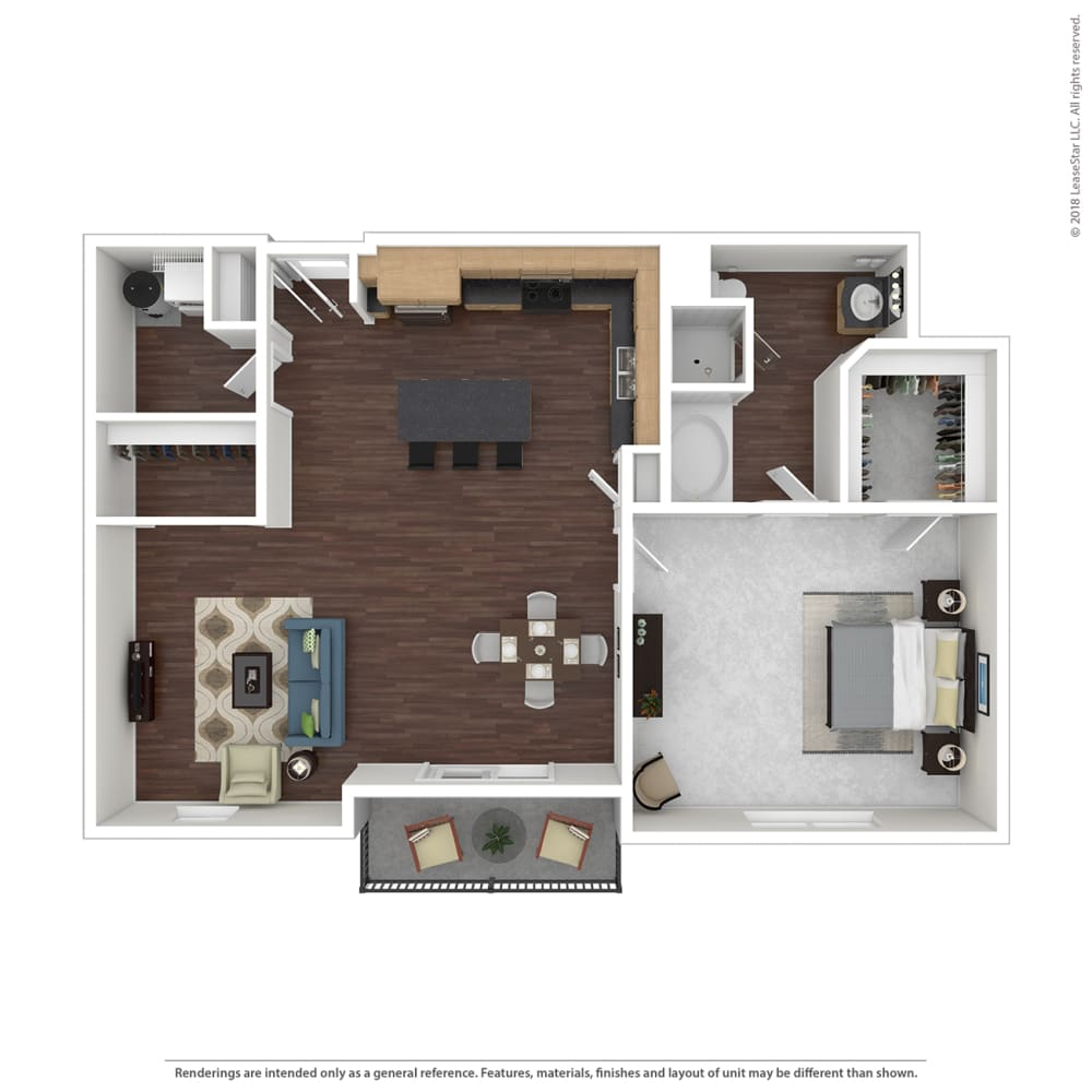 A4 with furniture Floor Plan at 45 Madison Apartments, Kansas City, MO